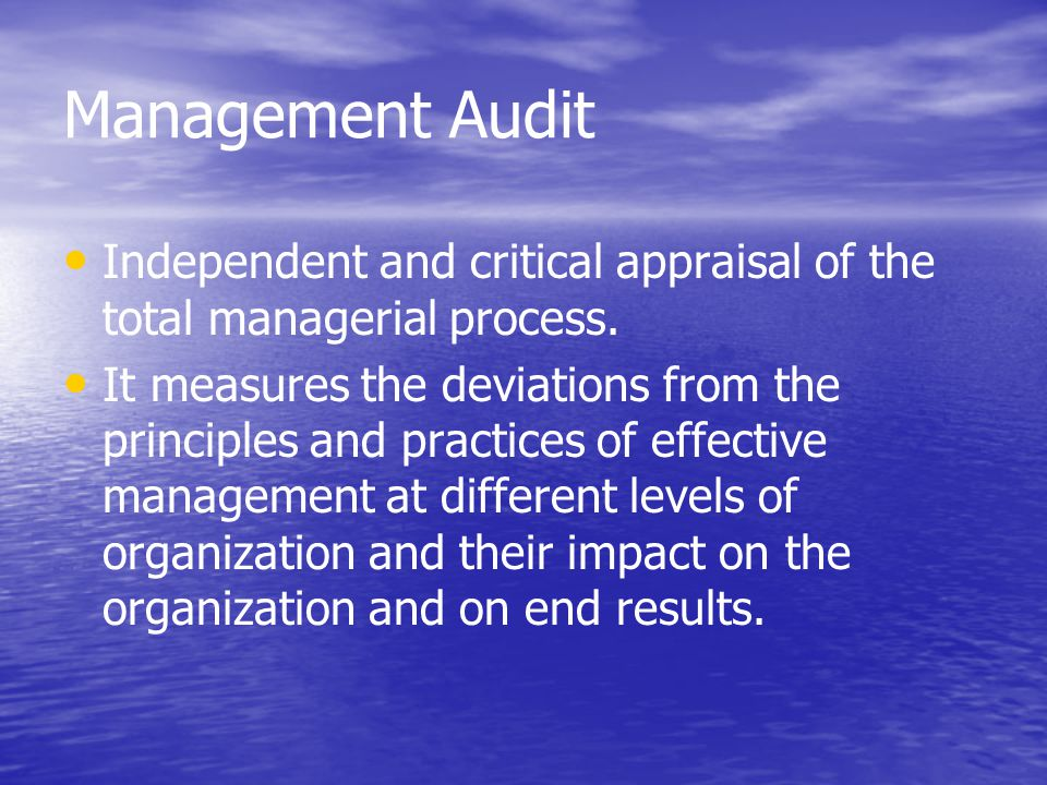 Management Audit Independent and critical appraisal of the total managerial process.