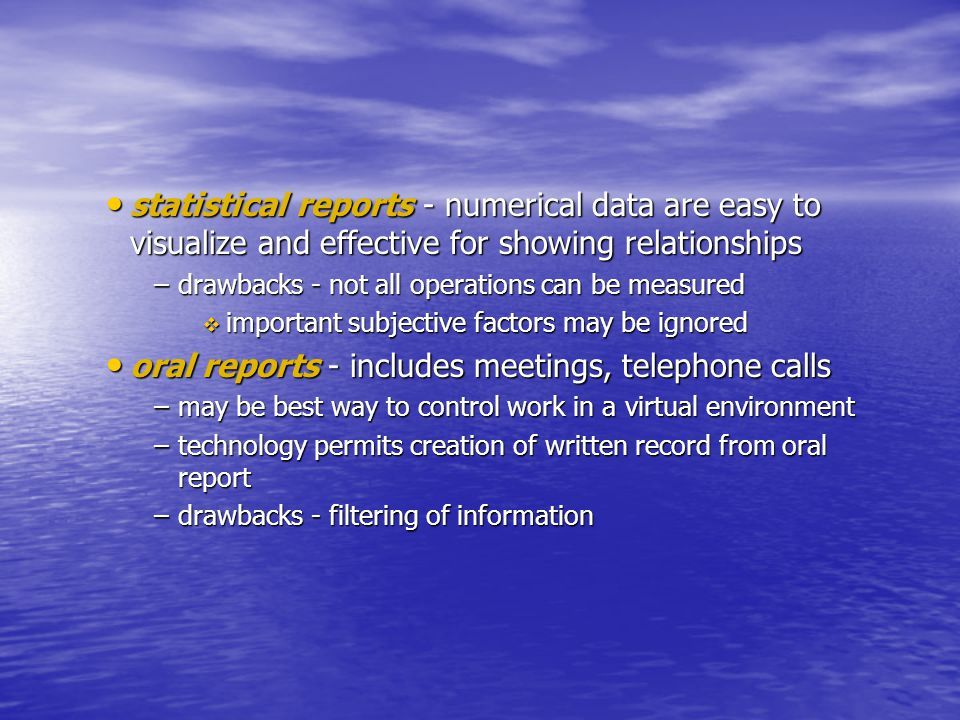 oral reports - includes meetings, telephone calls
