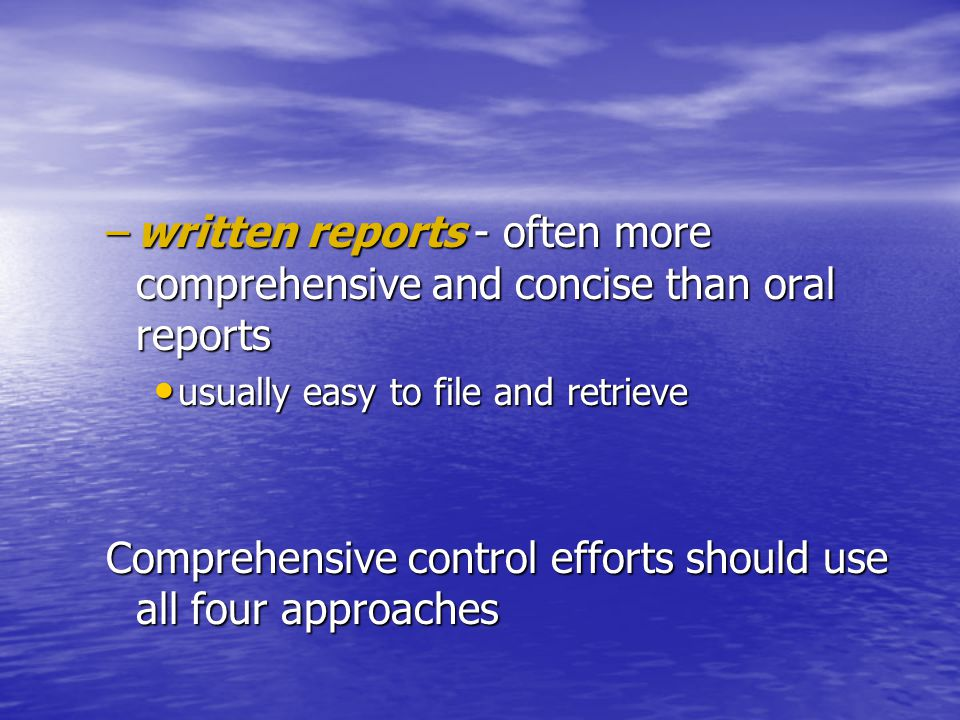 Comprehensive control efforts should use all four approaches