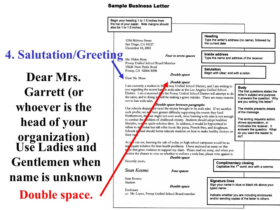 Dear Mrs. Garrett (or whoever is the head of your organization)