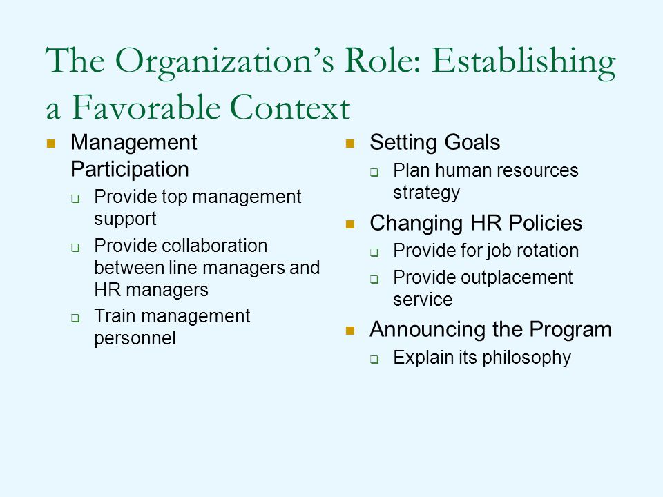 The Organization's Role: Establishing a Favorable Context