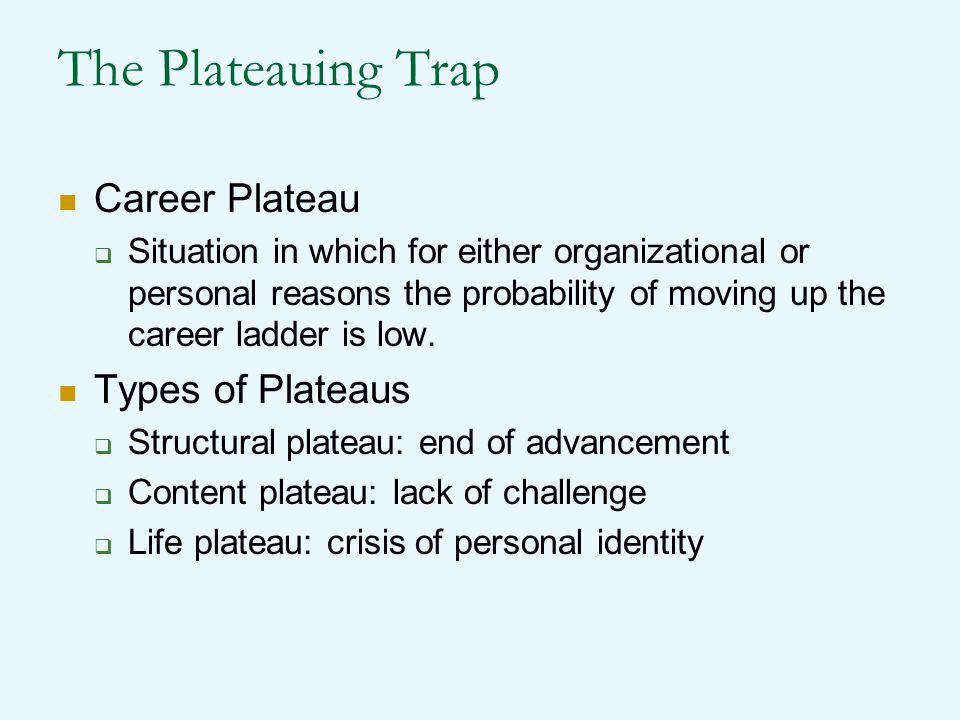 The Plateauing Trap Career Plateau Types of Plateaus