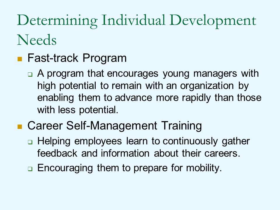 Determining Individual Development Needs