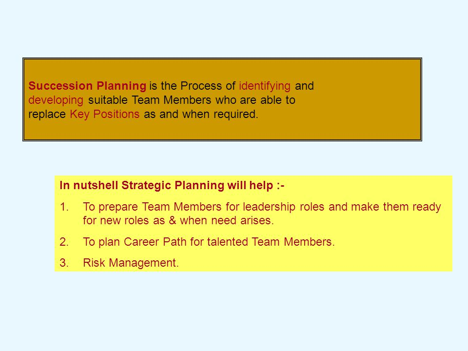 Succession Planning is the Process of identifying and