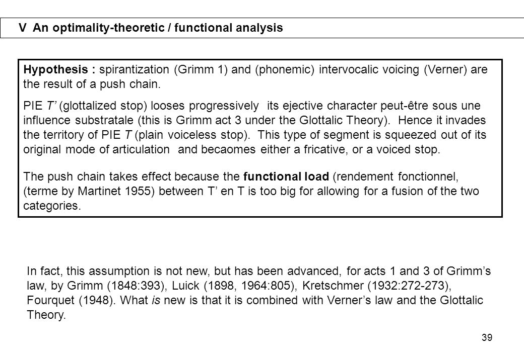 V An optimality-theoretic / functional analysis