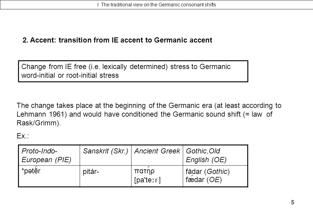 I The traditional view on the Germanic consonant shifts