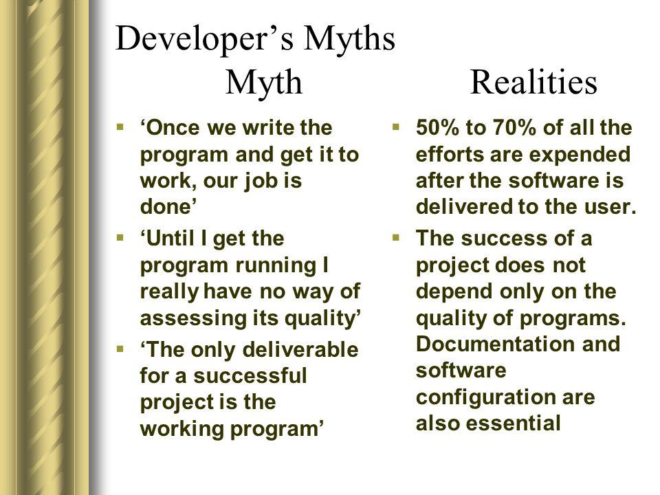Developer's Myths Myth Realities