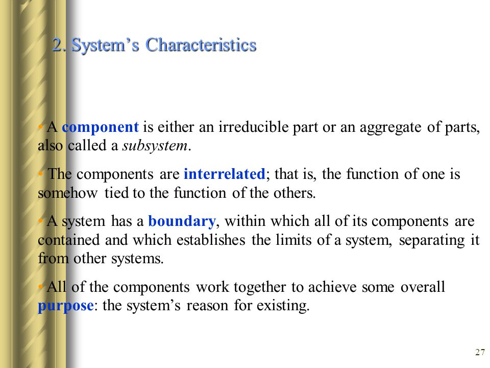 2. System's Characteristics