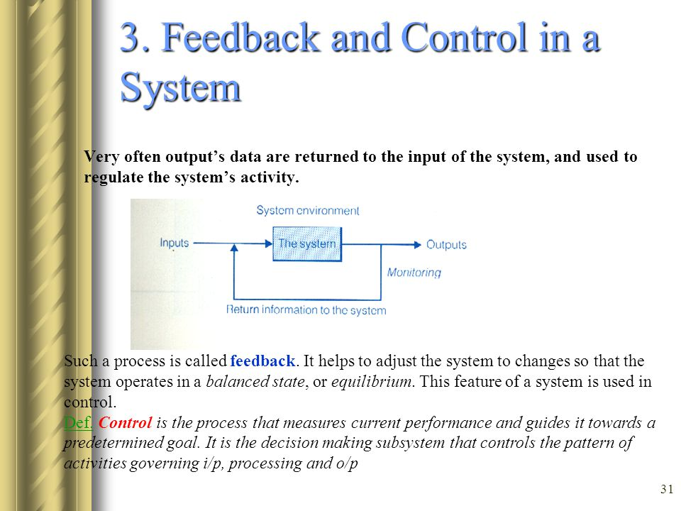3. Feedback and Control in a System