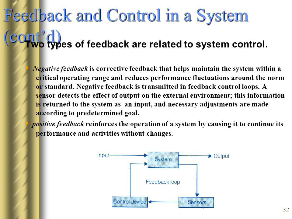 Feedback and Control in a System (cont'd)