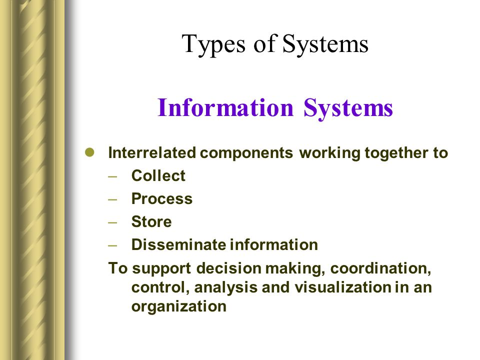 Types of Systems Information Systems