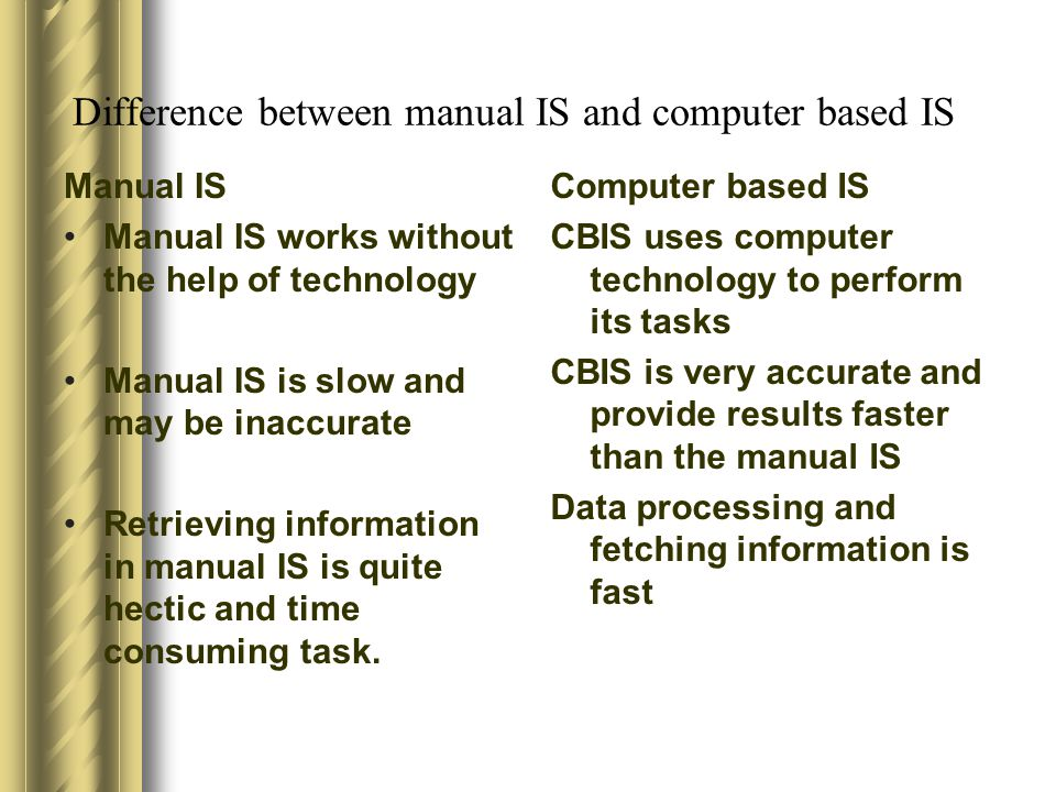 Difference between manual IS and computer based IS