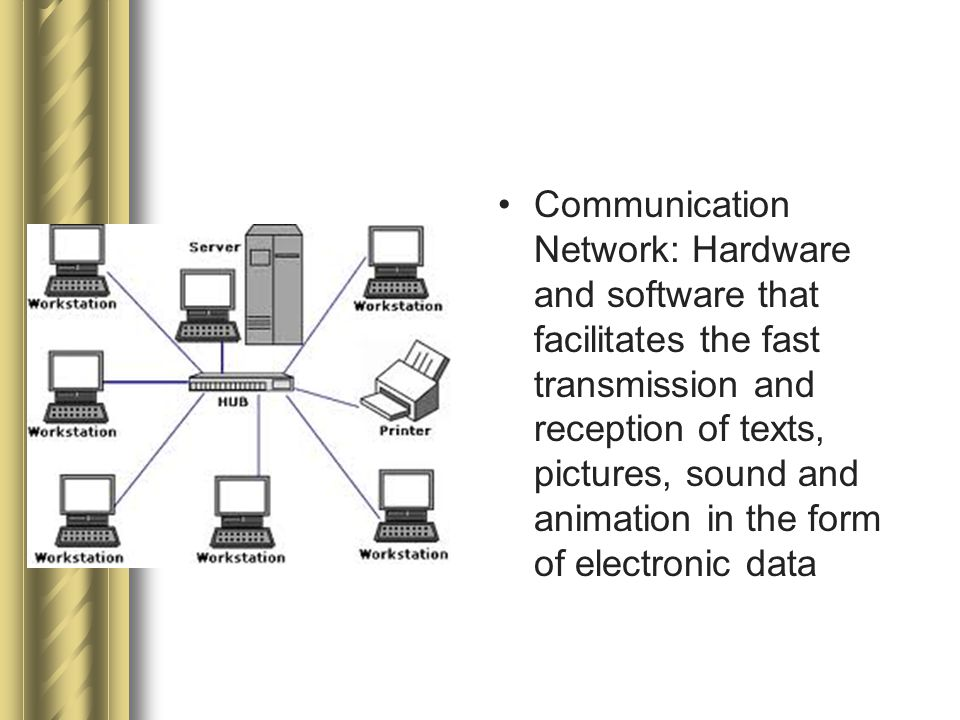 Communication Network: Hardware and software that facilitates the fast transmission and reception of texts, pictures, sound and animation in the form of electronic data