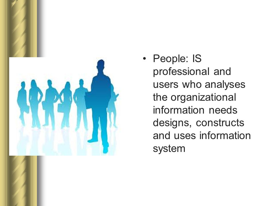 People: IS professional and users who analyses the organizational information needs designs, constructs and uses information system