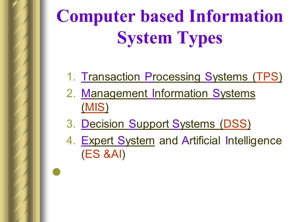 Computer based Information System Types