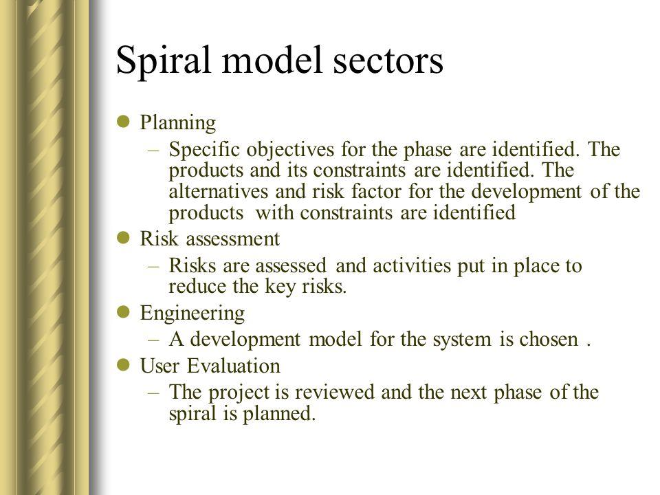 Spiral model sectors Planning