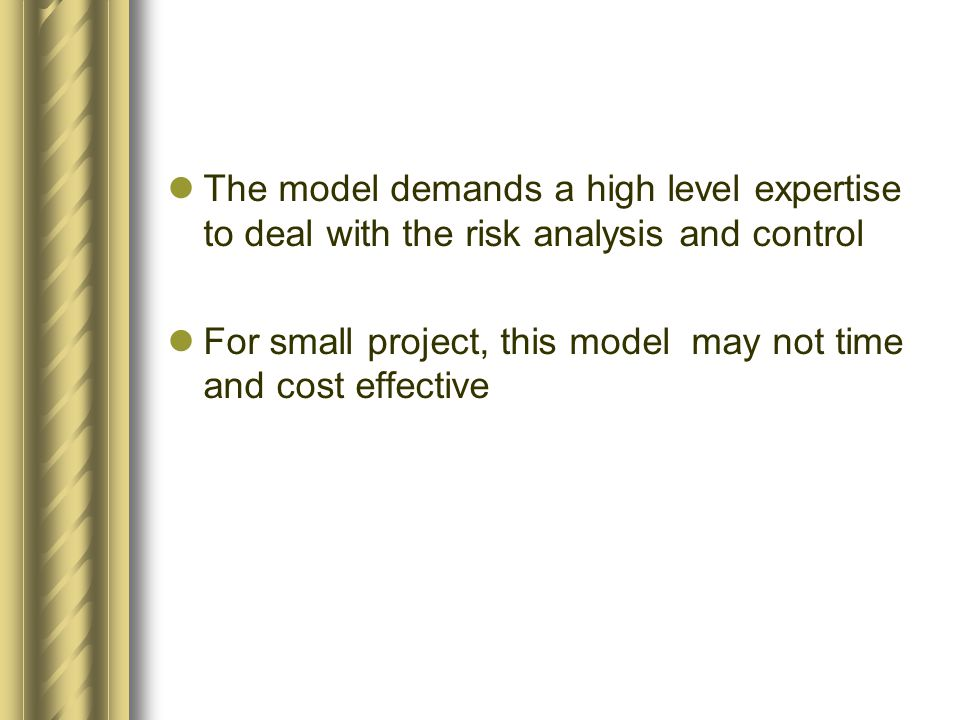 The model demands a high level expertise to deal with the risk analysis and control