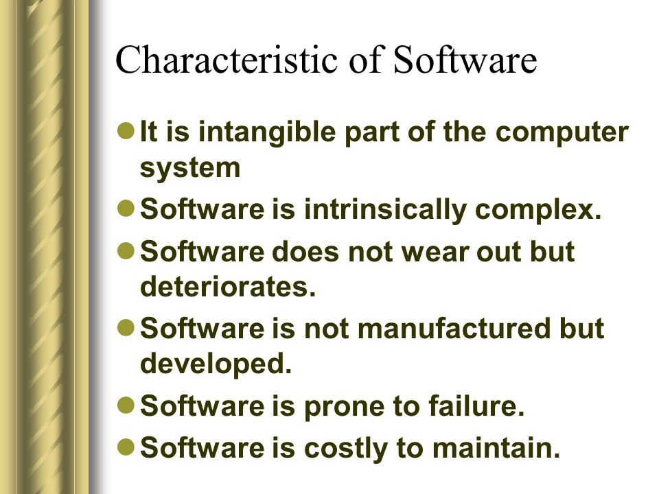 Characteristic of Software