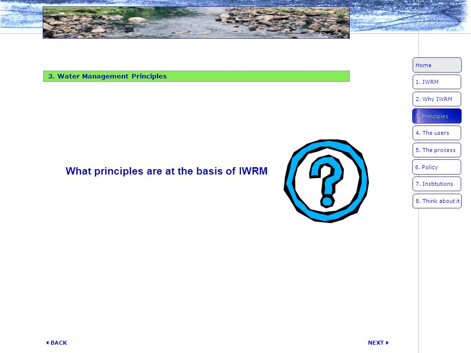 What principles are at the basis of IWRM