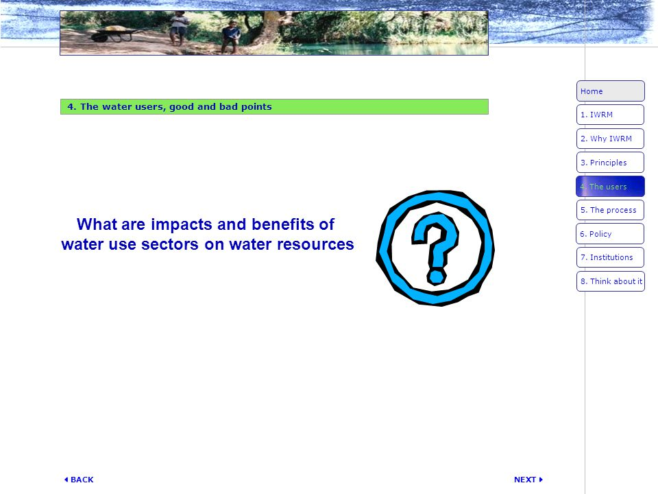 What are impacts and benefits of water use sectors on water resources