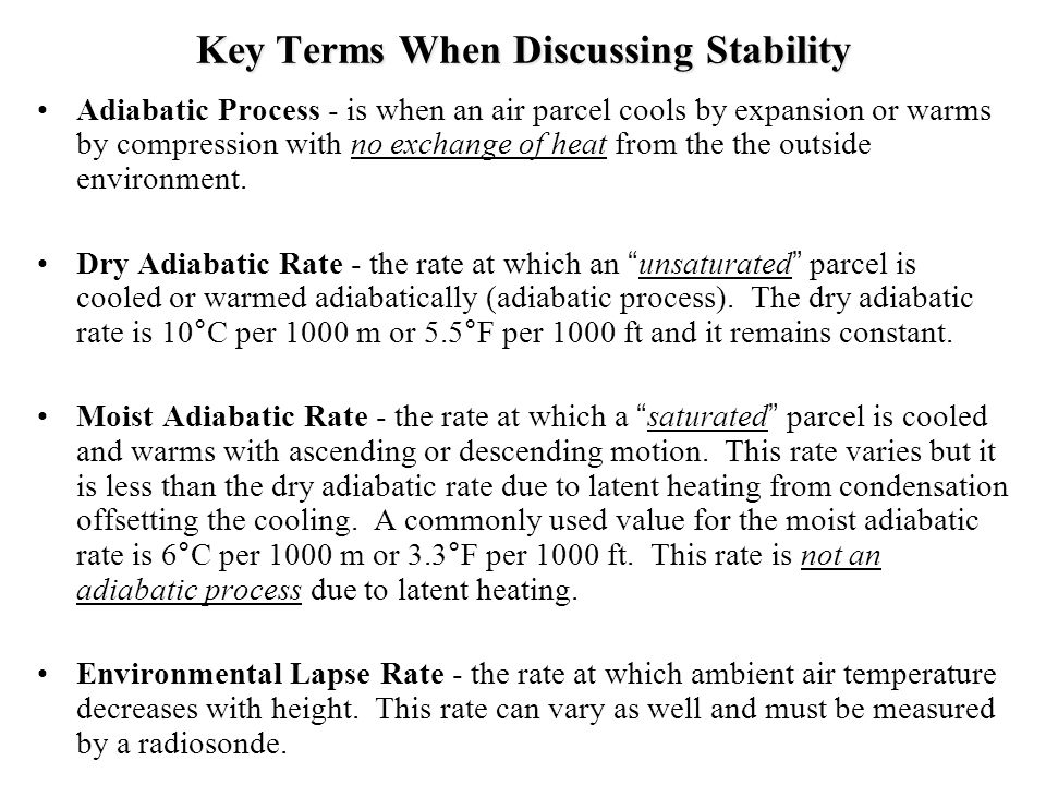 Key Terms When Discussing Stability