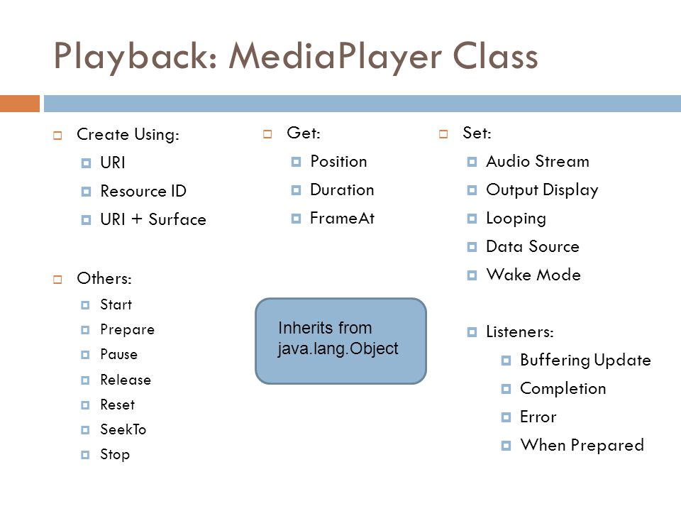 Playback: MediaPlayer Class