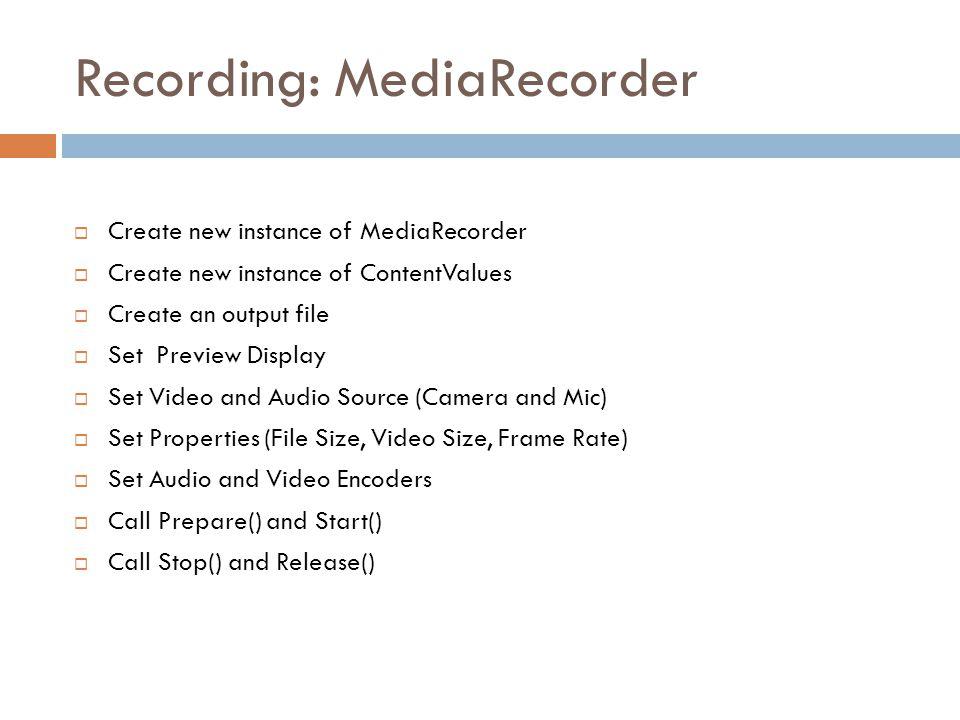 Recording: MediaRecorder