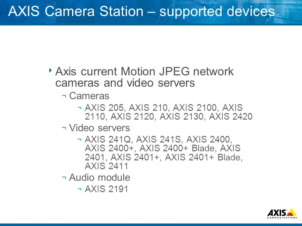 AXIS Camera Station – supported devices