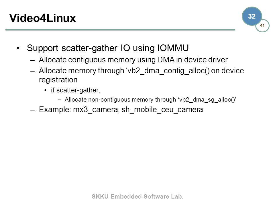 Video4Linux Support scatter-gather IO using IOMMU