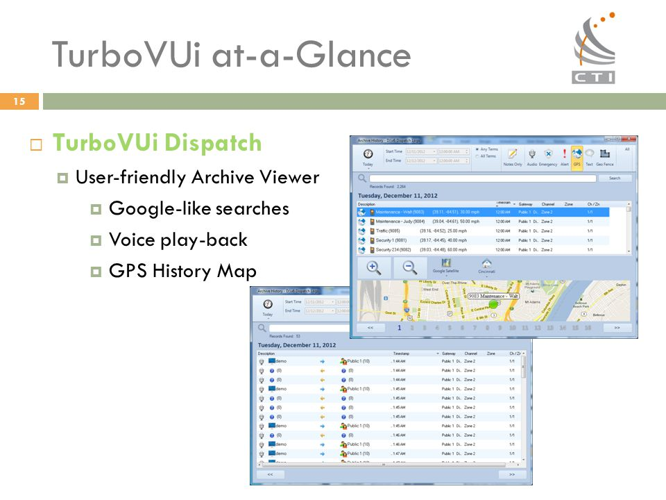 TurboVUi at-a-Glance TurboVUi Dispatch User-friendly Archive Viewer