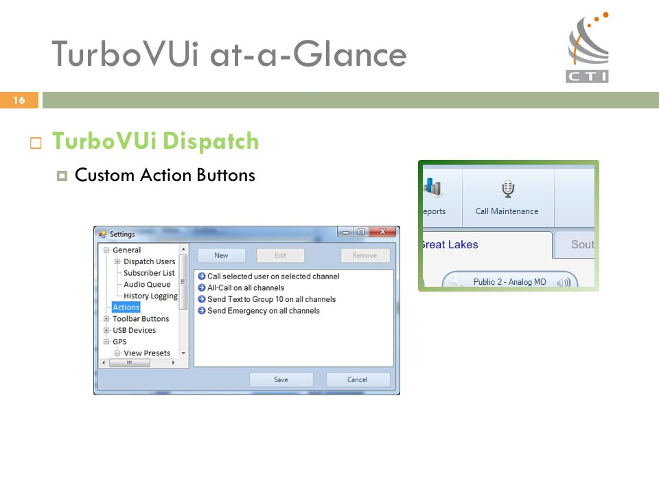 TurboVUi at-a-Glance TurboVUi Dispatch Custom Action Buttons