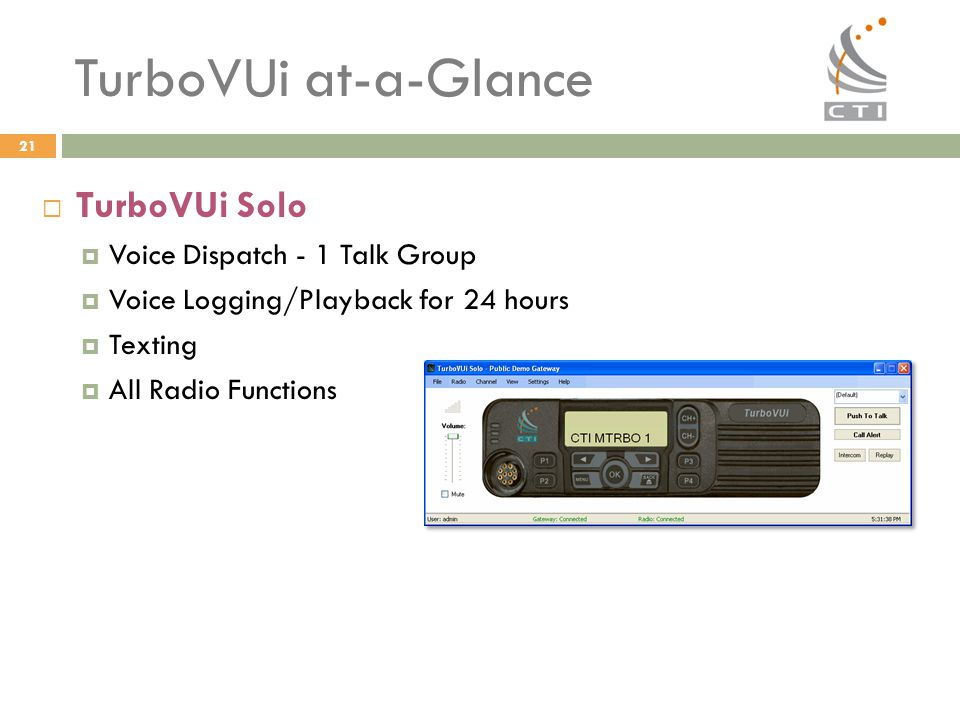 TurboVUi at-a-Glance TurboVUi Solo Voice Dispatch - 1 Talk Group