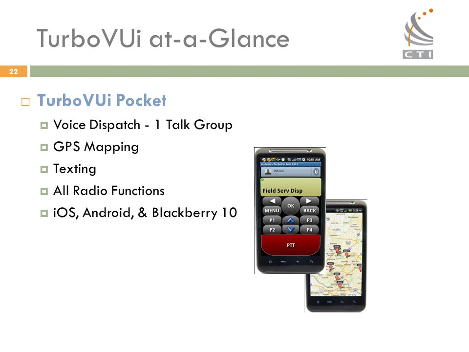 TurboVUi at-a-Glance TurboVUi Pocket Voice Dispatch - 1 Talk Group