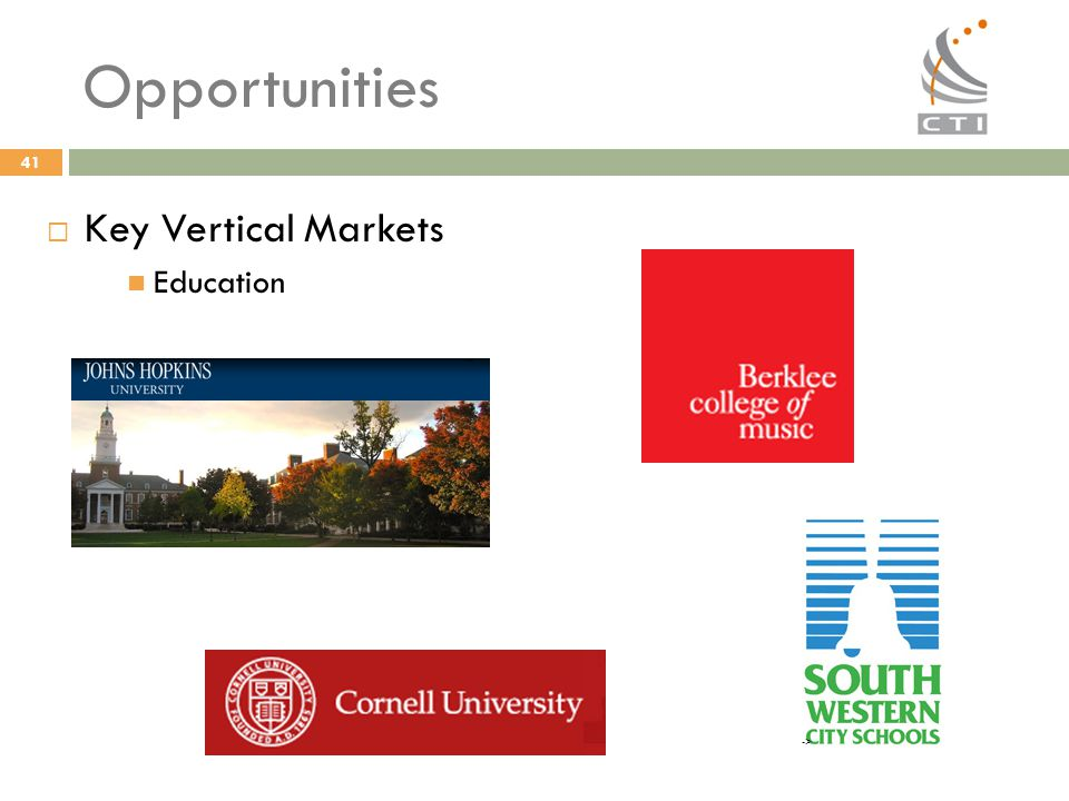 Opportunities Key Vertical Markets Education