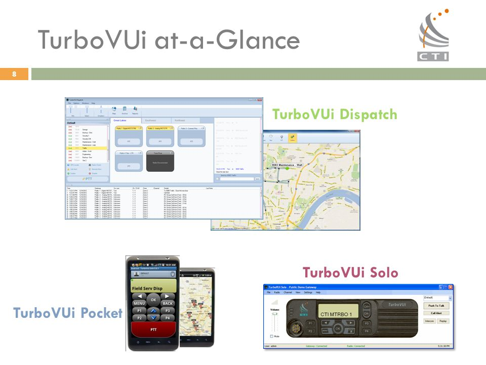 TurboVUi at-a-Glance TurboVUi Dispatch TurboVUi Solo TurboVUi Pocket 8