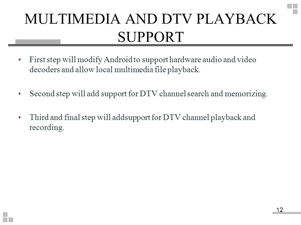 MULTIMEDIA AND DTV PLAYBACK SUPPORT
