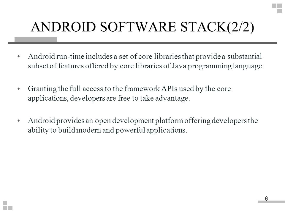 ANDROID SOFTWARE STACK(2/2)