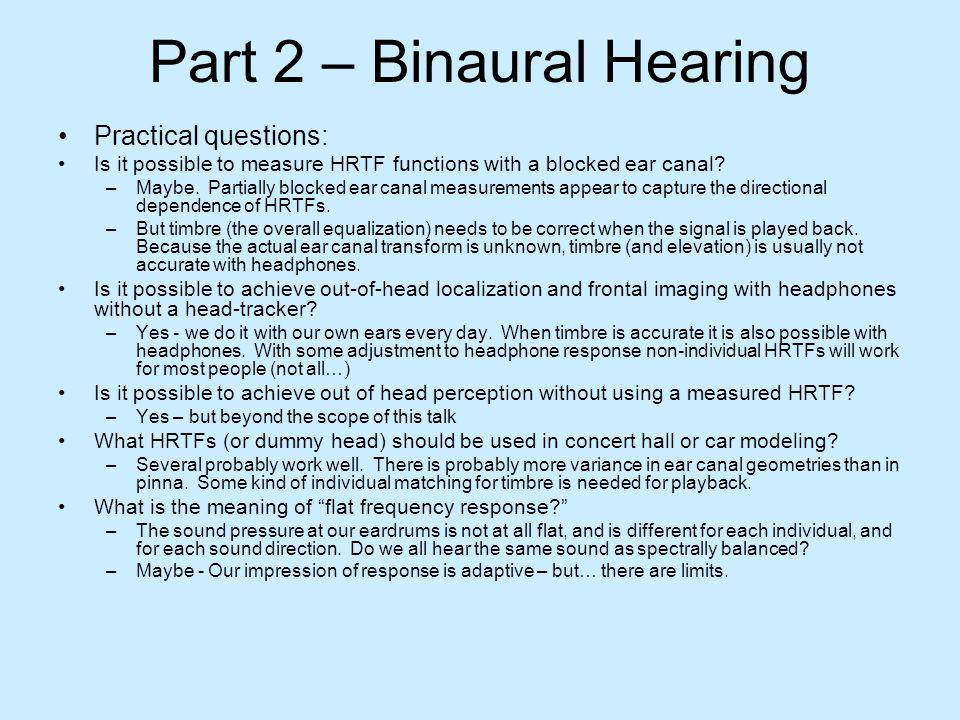 Part 2 – Binaural Hearing