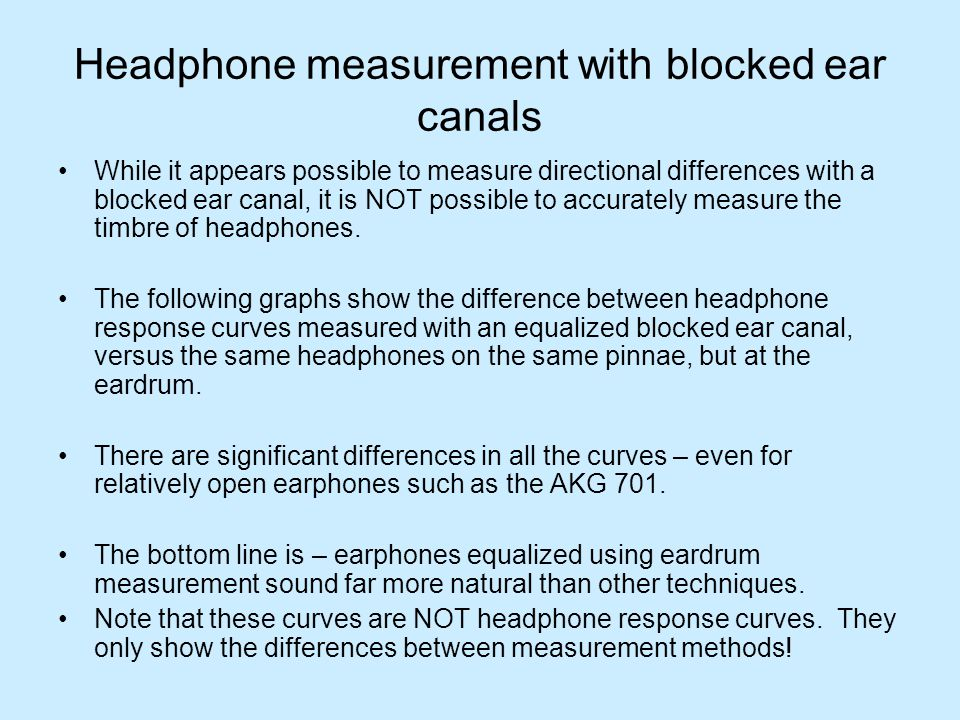 Headphone measurement with blocked ear canals