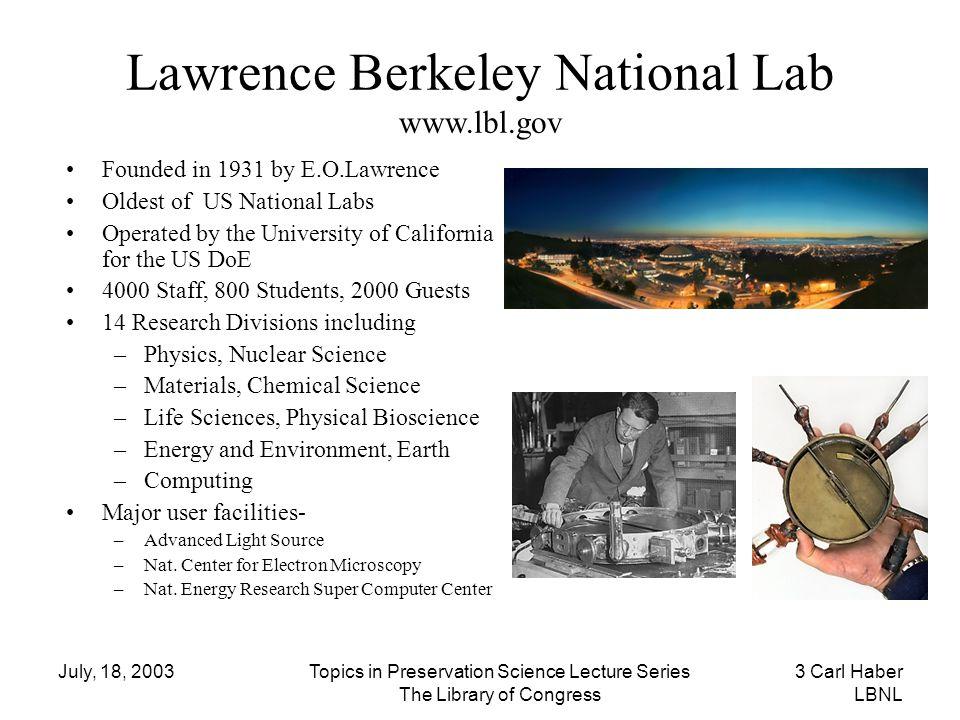 Lawrence Berkeley National Lab www.lbl.gov