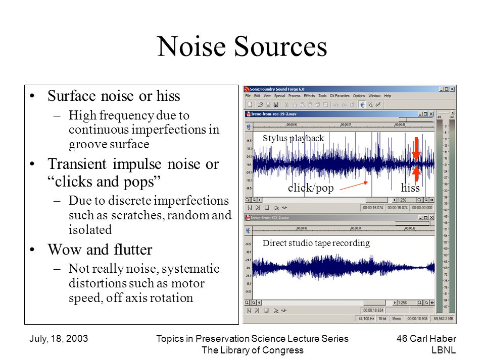 Noise Sources Surface noise or hiss