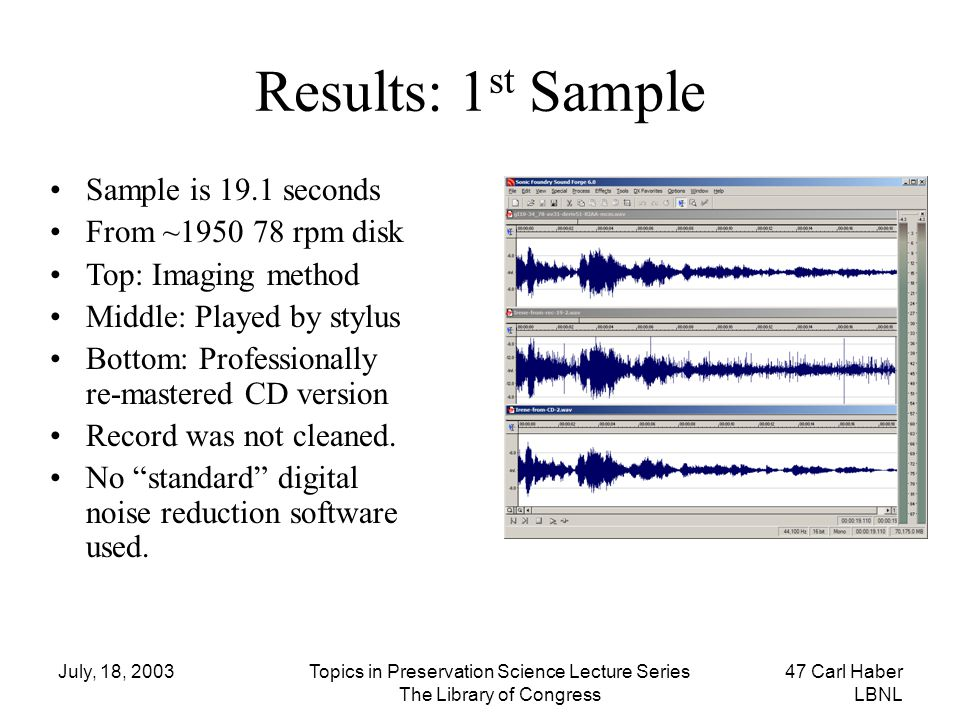 Results: 1st Sample Sample is 19.1 seconds From ~1950 78 rpm disk