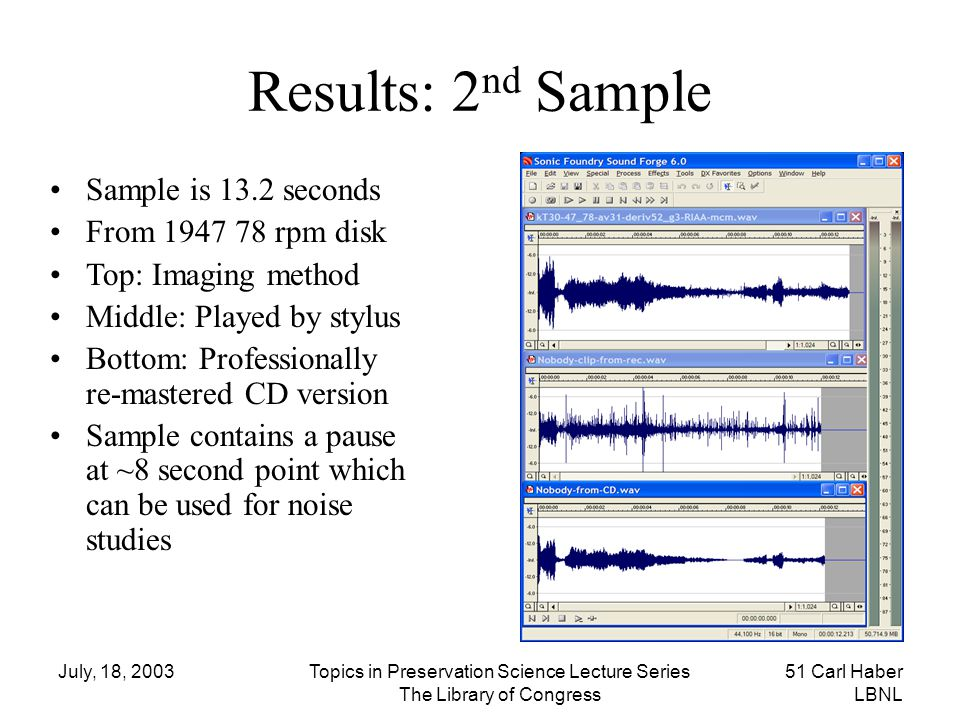 Results: 2nd Sample Sample is 13.2 seconds From 1947 78 rpm disk