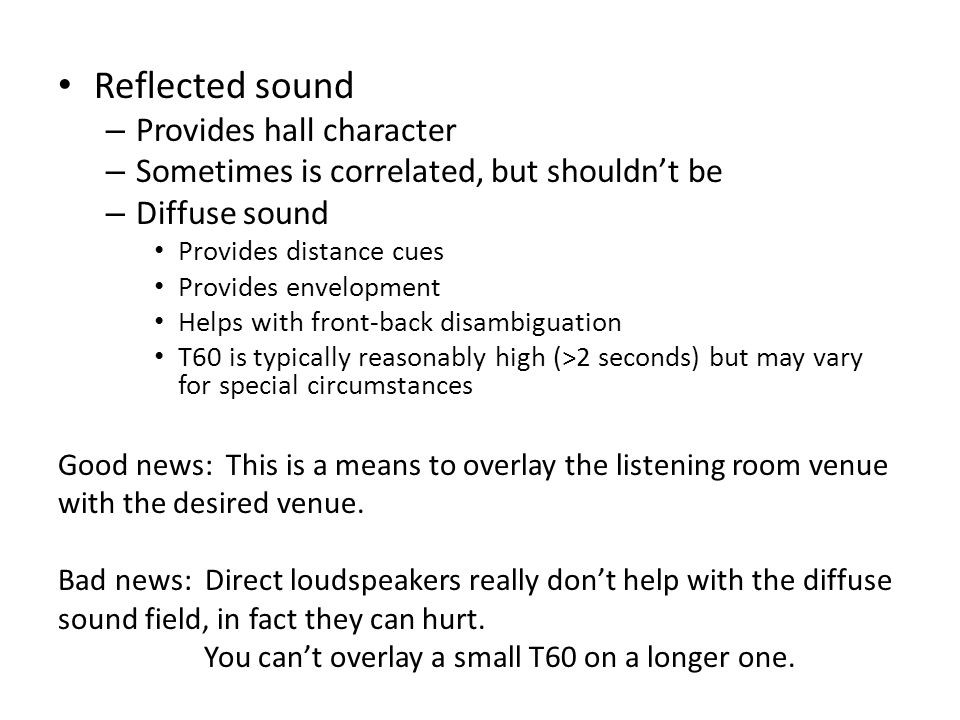 Reflected sound Provides hall character