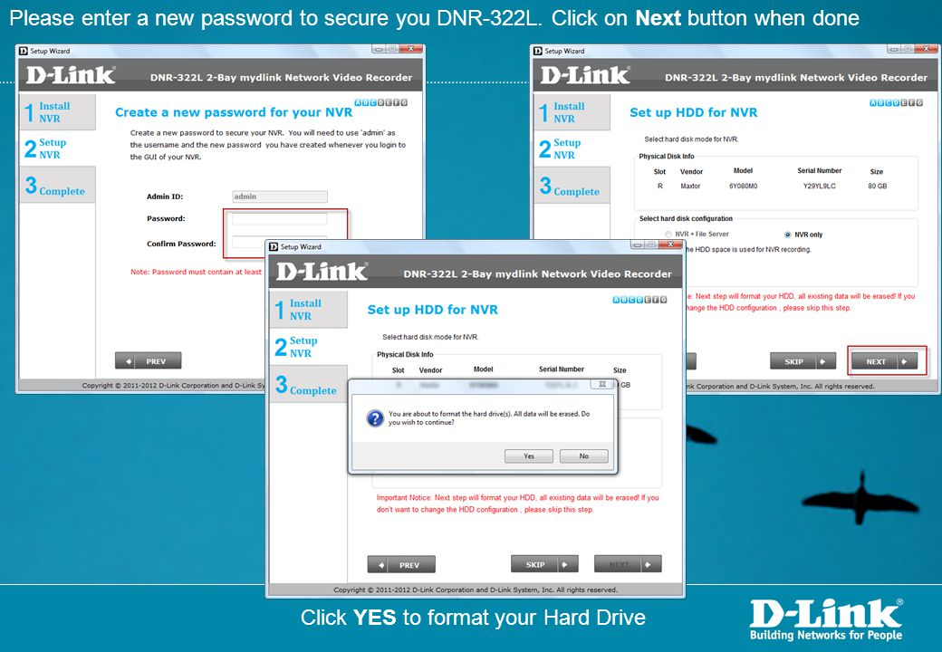 Please enter a new password to secure you DNR-322L