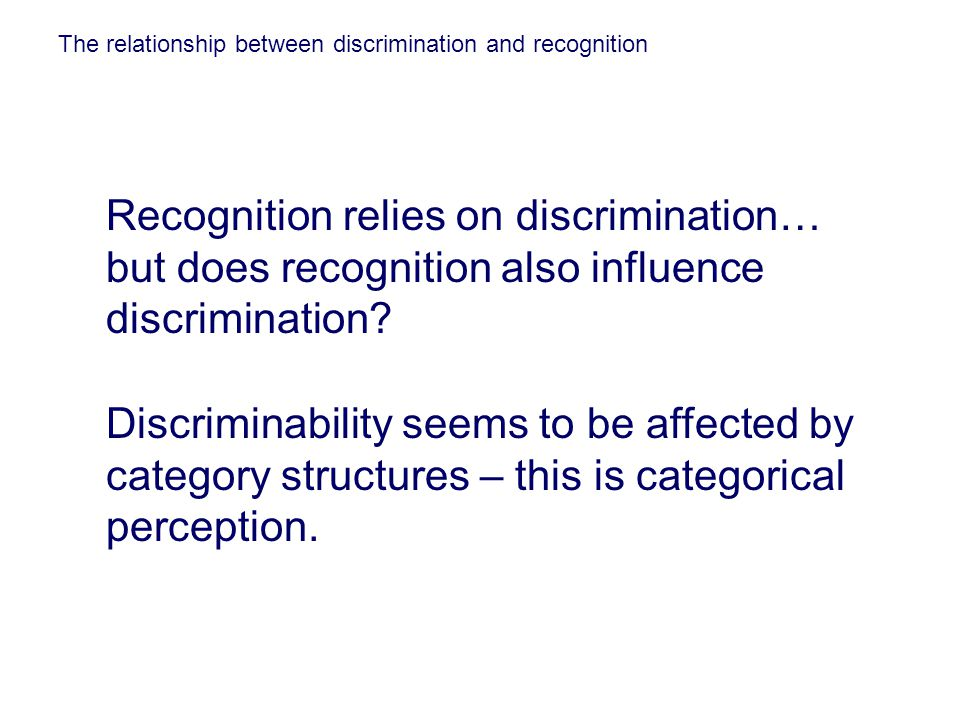 The relationship between discrimination and recognition