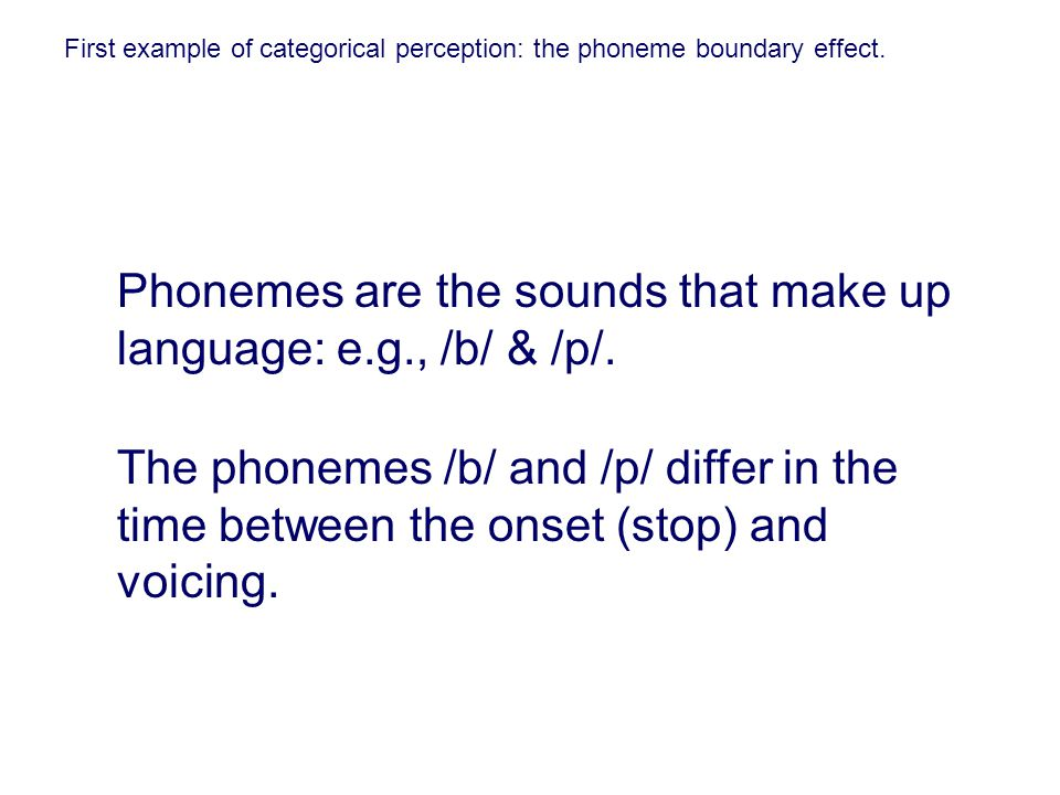 Phonemes are the sounds that make up language: e.g., /b/ & /p/.