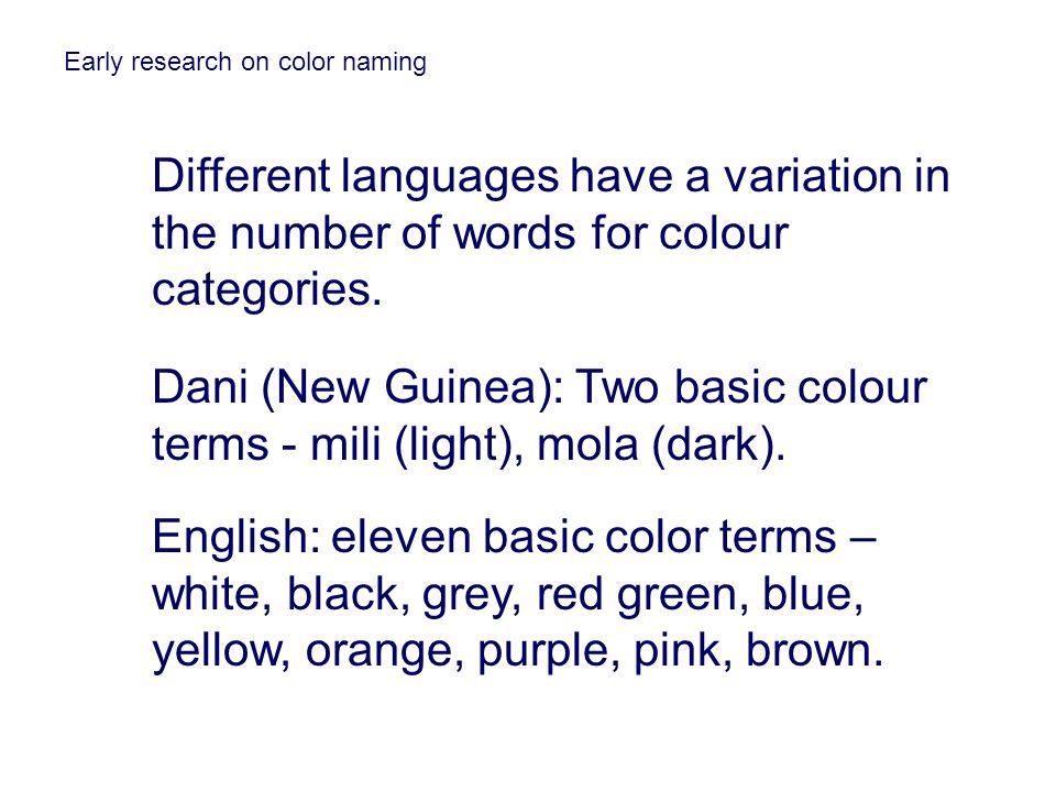 Dani (New Guinea): Two basic colour terms - mili (light), mola (dark).
