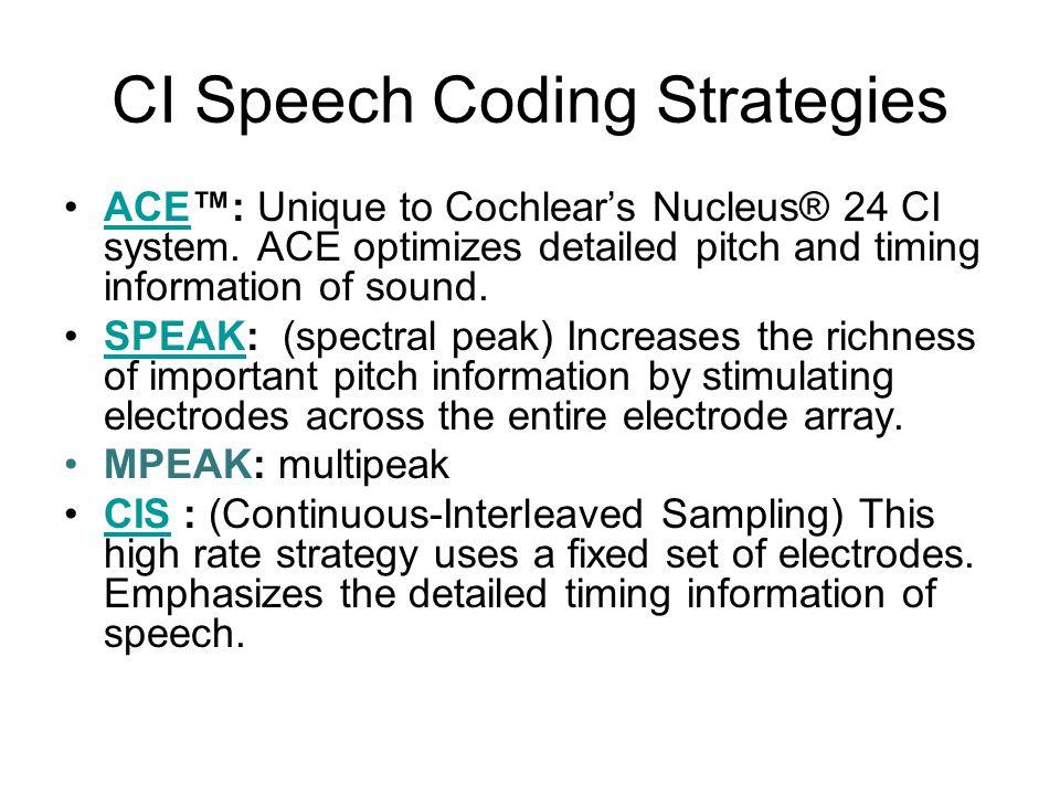 CI Speech Coding Strategies