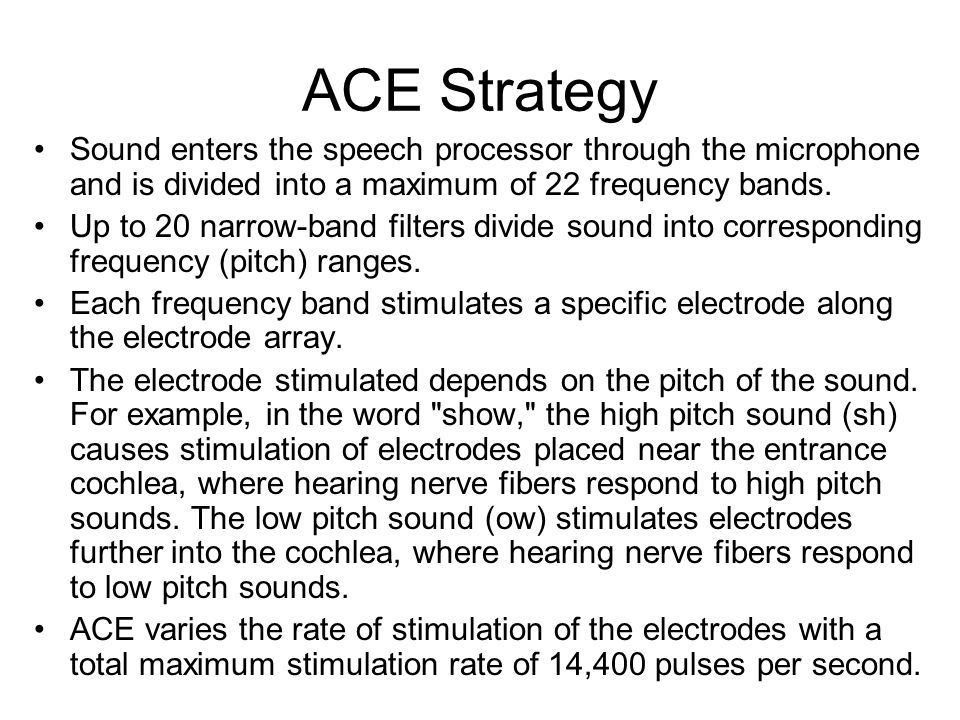 ACE Strategy Sound enters the speech processor through the microphone and is divided into a maximum of 22 frequency bands.
